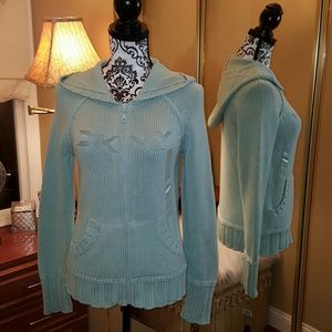NWT - DKNY Zip Front Hooded Sweater